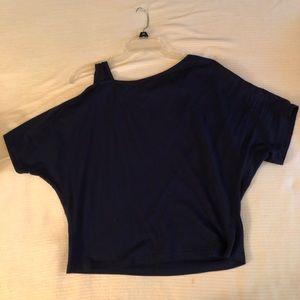 Tops - Blue off the shoulder shirt